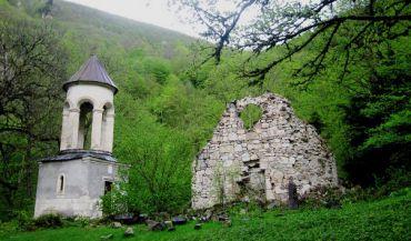 The ruins of the monastery complex Chelishi, Kvemo Svaneti